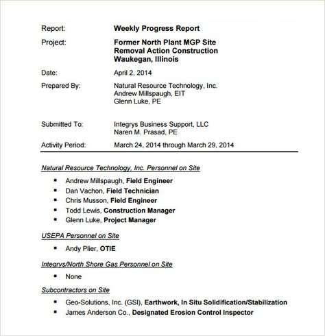 sample weekly progress report template free documents pdf download - weekly progress report template