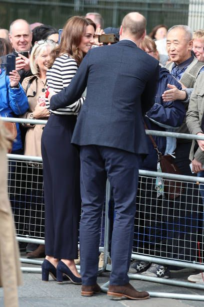 LONDON, ENGLAND - MAY 07: Catherine, Duchess of Cambridge and Prince William, Duke of Cambridge meet members of the public after the launch of The King's Cup Regatta at the Cutty Sark, Greenwich on May 07, 2019 in London, England. (Photo by Neil Mockford/GC Images)