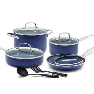 Food Network 10 Pc Nonstick Ceramic Copper Cookware Set Ceramic Nonstick Cookware Cookware Set Blue Diamond