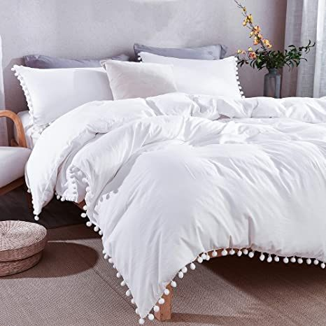 Andency Pom Pom Fringe Duvet Cover Queen Size 90x90 Inch 3 Pieces 1 Solid White Duvet Cover 2 Pillowcases S In 2021 White Duvet White Duvet Covers Duvet Cover Sets