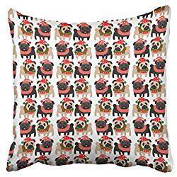 Pug Throw Pillow Case Dec Xmas Adorable Black And Fawn Christmas Pugs Throw Pillow Case Cushion Cover C Chair Cushion Covers Cushion Covers Plush Throw Pillows