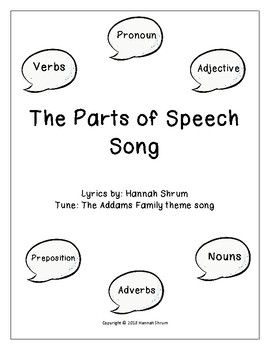 The Parts of Speech Song | Literacy | Parts of speech, Songs, Adverbs