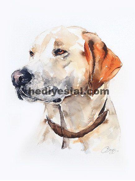 Labrador Hund Portrait Labor Original Aquarell 8 X 10