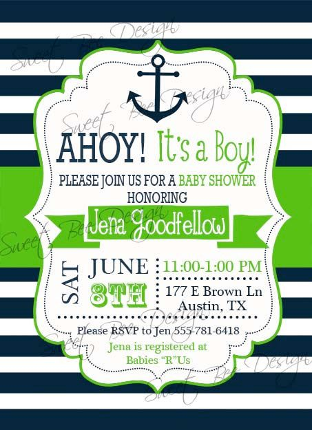 Nautical Baby Shower Invitation  Nautical by SweetBeeDesignShoppe, $12.00