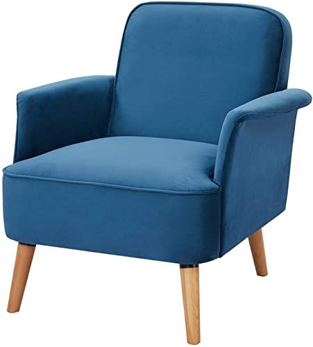 Buy Accent Chair Lauraland Modern Upholstered Single Leisure Sofa Chair Armchair Solid Wood Legs Living Room Bedroom Office Blue Online Wouldtopshoppin In 2020 Small Sofa Chair Accent Chairs Sofa Chair