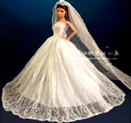 Handmade Barbie Wedding Gown New With Long Veil Shoes Sheer /& Satin
