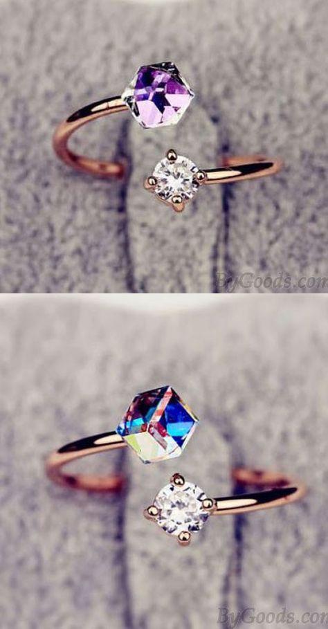 Bunte Zirkon Strass Öffnungs Ring #ring #fashion #jewelry