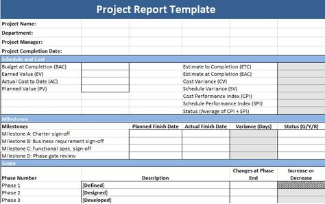 Project Management Status Report Template Management Templates - project report template