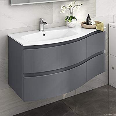 Contemporary Gloss Grey Curved Vanity Unit Wall Hung Left Hand Basin Sink Bathroom Furnitur Bathroom Vanity Units Bathroom Furniture Modern Basin Sink Bathroom