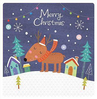 일러스트 카드 우편 겨울 연말 크리스마스 사람없음 눈 날씨 눈결정 캐릭터 귀여움 나무 루돌프 목도리 주택 꼬마전구 팬시 크리스마스 그림 크리스마스 카드 만들기