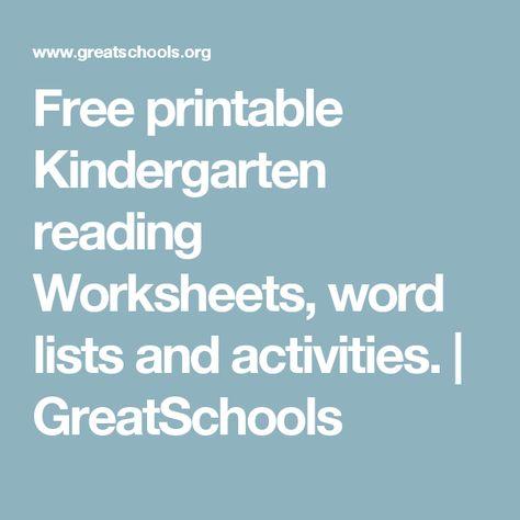 Free printable Kindergarten reading Worksheets, word lists and ...