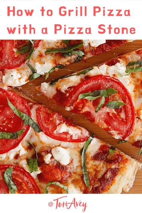 How to Grill Pizza with a Pizza Stone - Turn your grill into a pizza oven! Easy Thin Crust Pizza Dough Recipe | ToriAvey.com. #grill #barbecue #cookout #pizza #grilledpizza #howto #pizzastone #kitchentips #grillcooking #TorisKitchen