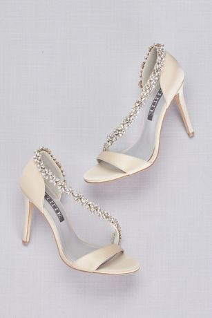 High Heeled Sandals With Crystal Flower Strap David S Bridal Bride Shoes Wedding Shoes Sandals Heels