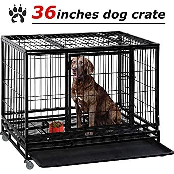 Large Dog Crate Dog Cage Dog Kennel Heavy Duty 48 36 Inches Pet Playpen For Training Indoor Outdoor With Plastic Tray Doubl In 2020 Dog Crate Large Dog Crate Dog Cages