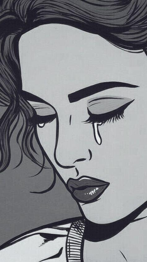 Mulher Chorando Wallpaper Desenhos Tristes Mulher Gato Desenho