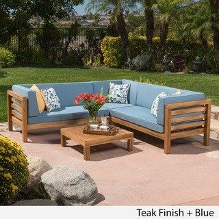 Oana Outdoor 4 Piece Acacia Wood Sectional Sofa Set With Cushions