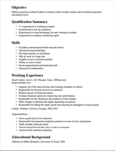 Cashier Job Description Resume - http\/\/jobresumesample\/1701 - cashier sample resumes