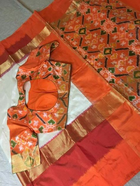Orange Blouse Designs For Sarees