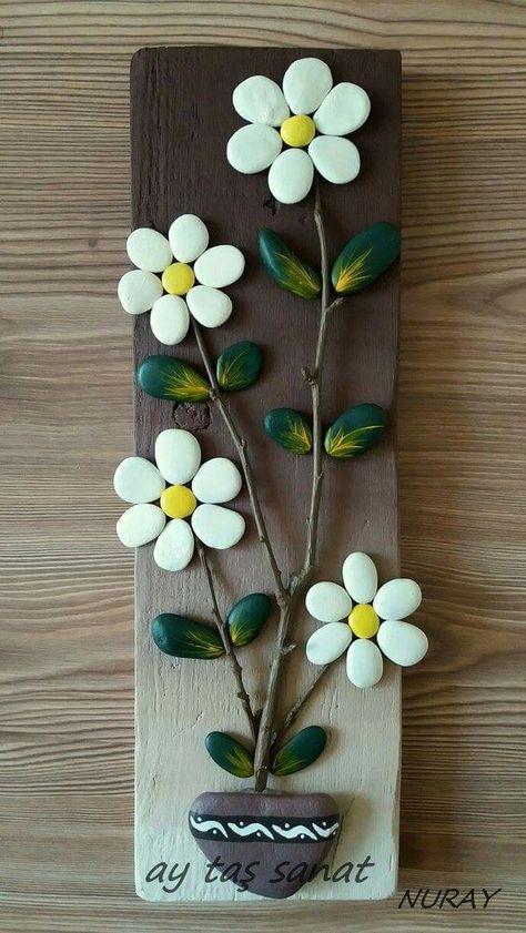 16 Adornos Decorativos Para El Hogar Con Piedras Flores De Piedras Manualidades Cuadros Piedras