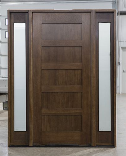 Mahogany Exterior Shaker Doors In Walnut Finish With Solid 5 Panels In The Door Solid Wood Front Door Shaker Doors Rustic Doors