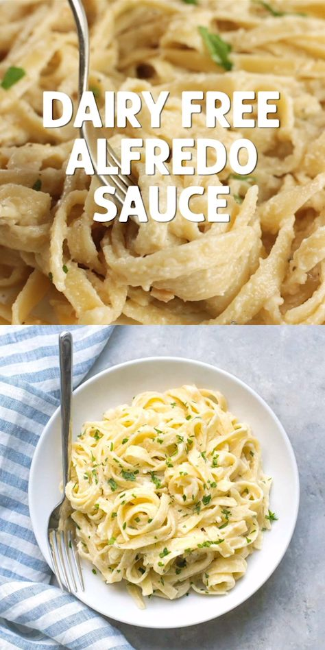 This is the creamiest dairy-free alfredo sauce and it only takes 10 minutes. Can be made vegan with vegetable broth. #alfredosauce #dairyfree #vegan @simplywhisked