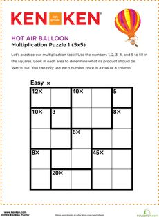 photograph regarding Kenken Puzzle Printable named Very hot Air Balloon KenKen® Puzzle Quantity Puzzles - KenKen