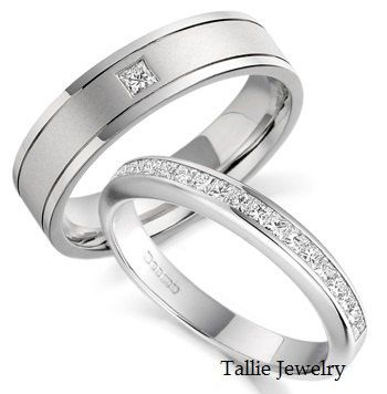 His & Hers Mens Womens Matching 14K White Gold Wedding Bands Rings