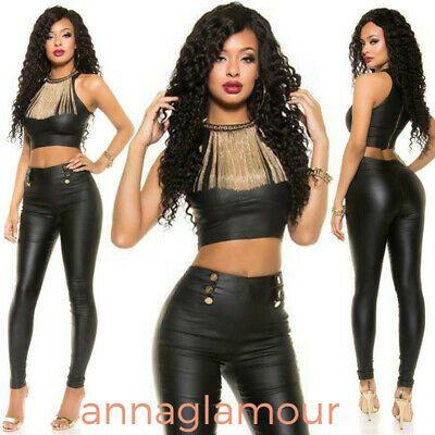 Leather Look Crop Top Sleeveless In Wet Look KouCla Black