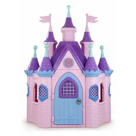 Jumbo Princess Palace Playhouse, Pink Castle Play House with Turrets and Flags, Full-Sized Door with Musical Doorknob, Indoor or Outdoor Play, Over 8 Feet Tall Princess Palace, Princess Room, Princess Castle, Pink Princess, Disney Princess Toys, Toys For Girls, Kids Toys, Toddler Playhouse, Play Structures For Kids