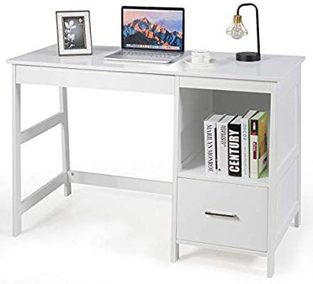 Amazon Com Tangkula 47 5 Computer Desk With 2 Storage Drawers Small Computer Table S Modern Home Office Desk White Desk With Drawers Computer Desks For Home Small computer desk with storage