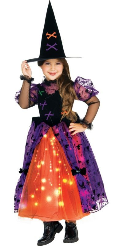 Girls Witch Costume Light Up Twinkler Witch Costume With Images Girl Witch Costume Toddler Witch Costumes Halloween Costumes For Girls