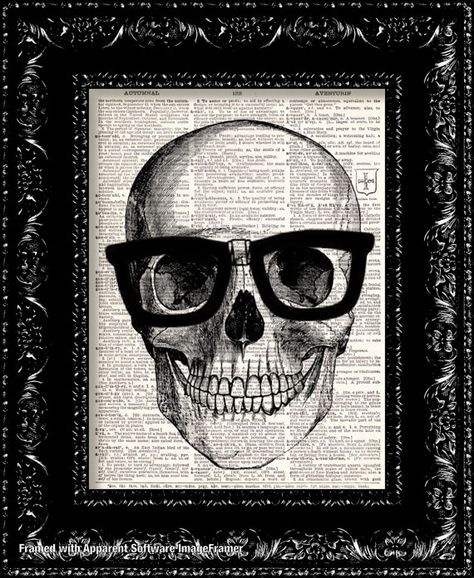 Nerd Geek Art Print - Skull In Horn Rim Glasses Vintage Dictionary Print Vintage Book Print Page Art Upcycled on Etsy,