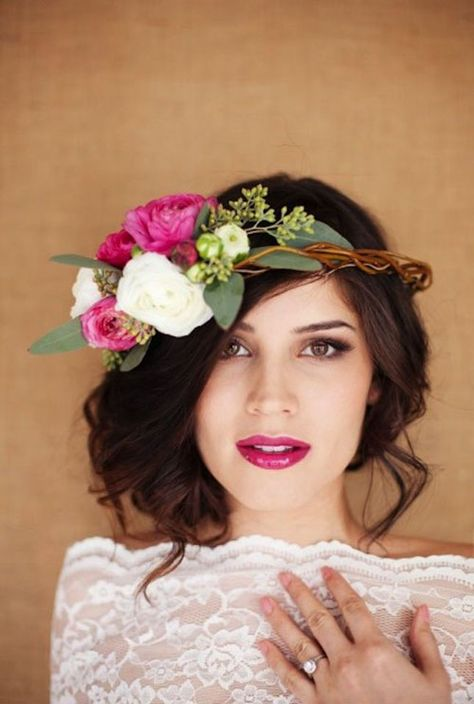 Wedding Makeup with red lipstick  and flower crown (Via Posh by Kat)