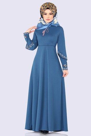Modaselvim Elbise Kolu Nakisli Elbise 5496mp186 Indigo Elbiseler Elbise Kiyafet