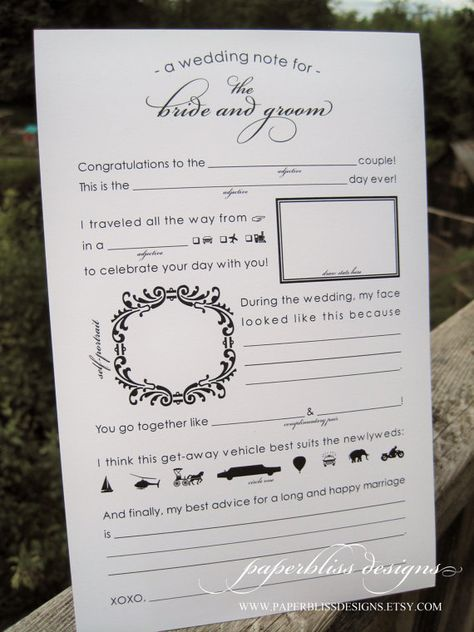 List Of Pinterest Unique Wedding Reception Activities Mad Libs
