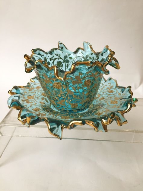 Vintage Tea Sets - For Sale at Very Unusual Rare Moser Cups and Saucers, circa 1900 Teapots And Cups, Tea Cup Saucer, Tea Time, Tea Party, Coffee Cups, Decorative Bowls, Glass Art, Antiques, Romantic Cottage
