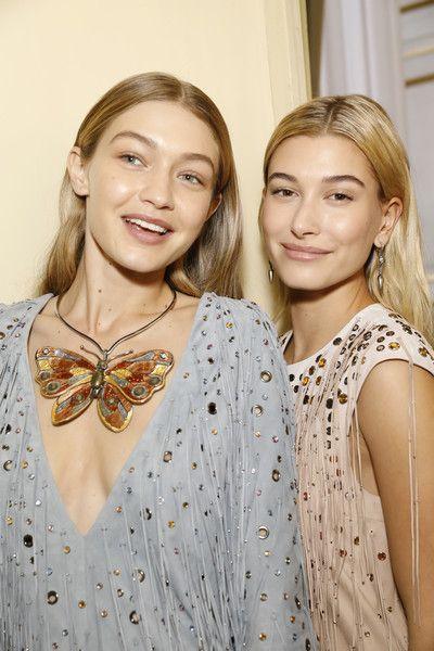Gigi Hadid and Hailey Baldwin are seen backstage ahead of the Bottega Veneta show during Milan Fashion Week Spring/Summer 2018.