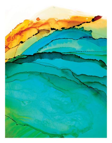 A print of an abstract painting of the ocean in highly saturated blues, greens and golden yellow colors.  . . . . . . . . . . . . . . . .  Giclee print on archival-quality paper of an original ink painting. Dimensions listed refer to the paper size, not to the printed image. There is a minimum border of at least 1/2 for framing.  The work is carefully shipped to you in a rigid stay-flat mailer.