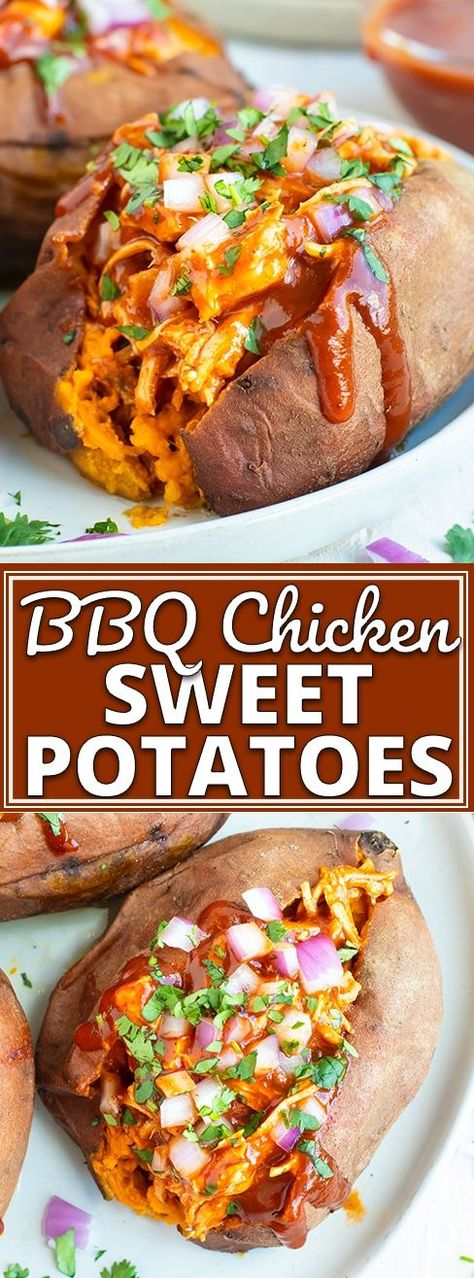 BBQ Chicken Stuffed Sweet Potatoes are an easy, healthy, gluten-free, and dairy-free weeknight dinner recipe the whole family will enjoy! This stuffed sweet potatoes recipe can also easily be made Paleo and Whole30. #evolvingtable #bbq #chicken #sweet potatoes #glutenfree #dinner #whole30 #paleo via @londonbrazil