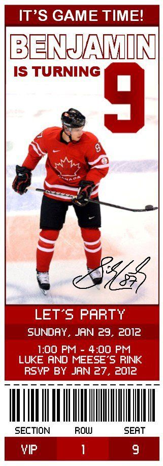 Hockey Party Customized Birthday Invitations hockey parties