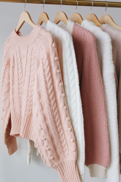 Fall in love with Lulus Sweater Collection full of soft and cozy must-haves to transition into the season ahead. This color palatte of soft blush, white, and rose is perfect for a casual Valentine's Day outfit. #lovelulus