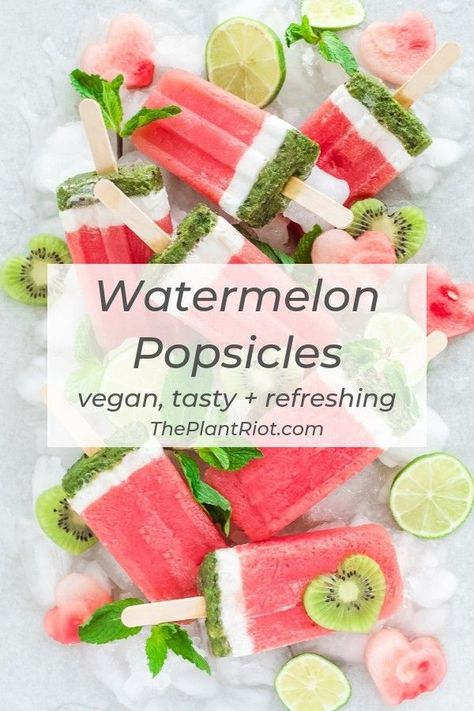 Watermelon Popsicles with Mint + Coconut | Colorful homemade popsicles with watermelon, mint, and coconut. These treats are delicious, yet low in carbs. The perfect way to cool off in the summer! | #ThePlantRiot #watermelon #popsicles #icepop #summer #summerfun | ThePlantRiot.com