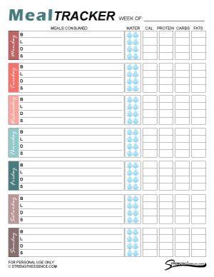 Free Printable Weekly Meal Tracker Pdf Template 2021 Diet Log Strength Essence Food Tracker Food Diary Template Food Tracker Printable
