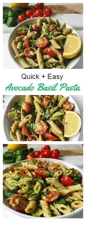 Quick And Easy Basil Avocado Pasta