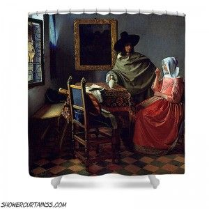 Jan Vermeer Van Delft The Glass Of Wine Shower Curtain Delft Glass Colorful Prints