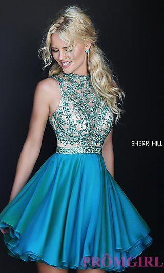 837c5d6c97 Short High Neck Fit and Flare Dress by Sherri Hill
