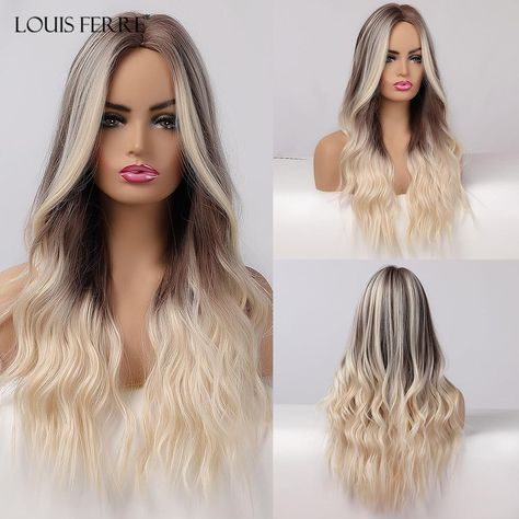 LOUIS FERRE Long Ombre Brown Light Blonde Synthetic Wigs Middle Part Water Wave Cosplay Wig For Black Woman Heat Resistant Fibre - lc179-12 / United Kingdom
