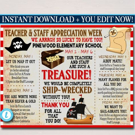 Pirate Themed Teacher Appreciation Week Itinerary Poster Printable