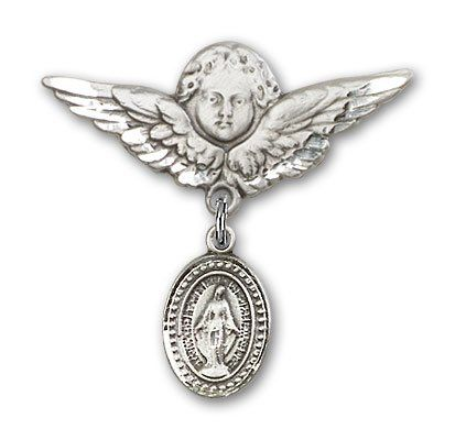 Made In USA Barnabas Charm and Angel with Wings Badge Pin Jewels Obsession Baby Badge with St Barnabas Charm and Angel with Wings Badge Pin Sterling Silver Baby Badge with St