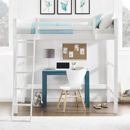 Your Zone Kids Wooden Loft Bed With Ladder Twin White Walmart Com In 2021 Twin Loft Bed White Bedding Loft Bed